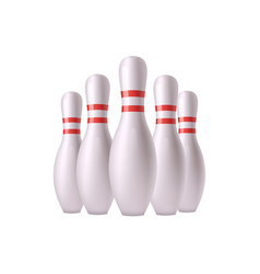 bowling pins group objects realistic vector image