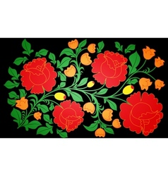Bright large roses and other flowers painted on a vector image