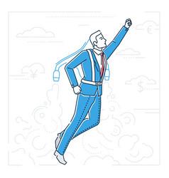 Businessman flying on a jet engine - line design vector