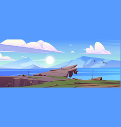 calm landscape with mountains and lake in morning vector image