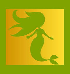 Cartoon beautiful little mermaid in a wreath sea vector