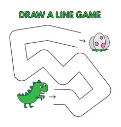 cartoon dinosaur draw a line game for kids vector image