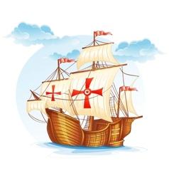 cartoon image a sailing ship spain xv vector image