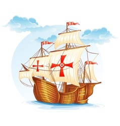 Cartoon image of a sailing ship of Spain XV vector