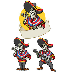 Cartoon of skull mexican set vector