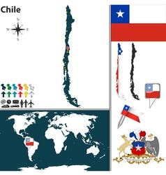 Chile map world vector image