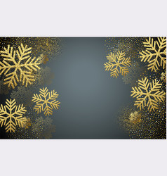 christmas card with gold snowflakes vector image