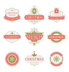 christmas sale labels and badges with text vector image