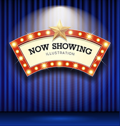 Cinema theater curve sign blue curtain light up vector
