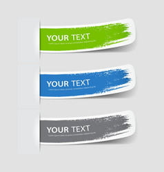Collection label paper brush stroke vector image