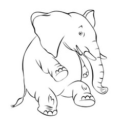 contour of a cheerful elephant the elephant vector image