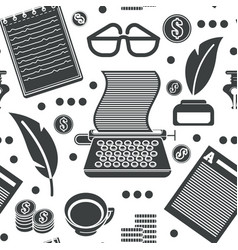 copyright symbols typewriter and ink pot with vector image