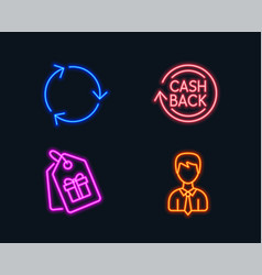 Coupons cashback and recycling icons businessman vector
