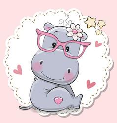 Cute hippo girl in pink eyeglasses vector