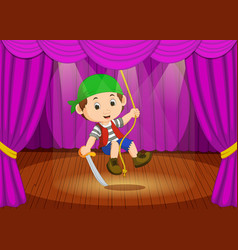 cute little boy wearing pirate costume on stage vector image