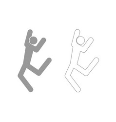 dancer stick grey set icon vector image