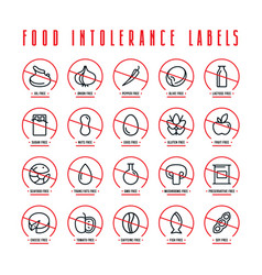 Diet and food intolerance labels vector