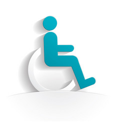 Disabled person icon paper vector