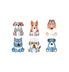 dogs different breeds set cute cartoon animals vector image