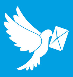 Dove carrying envelope icon white vector