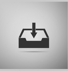 download inbox icon isolated on grey background vector image vector image