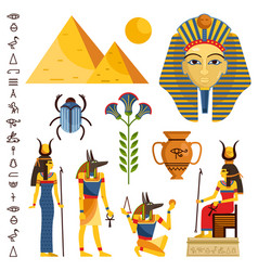 Egypt set of ancient egyptian idols statues vector