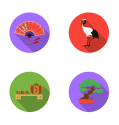 Fan red crown crane tea ceremony bonsaijapan vector