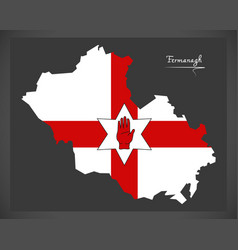 Fermanagh northern ireland map with ulster banner vector