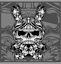 floral ornamental skullshand drawing vector image