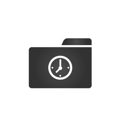 Folder icon with clock icon in trendy flat style vector