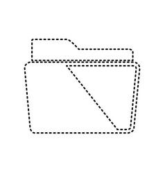 folder sign black dashed vector image