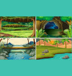 four forest scenes with trees and rivers vector image