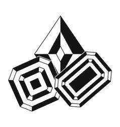 Gemstones black simple icon vector image