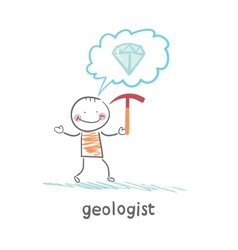 Geologist holding a hammer and thinks about gem vector