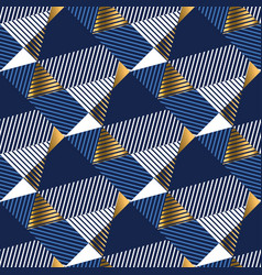 Geometric gold and blue luxury seamless pattern vector