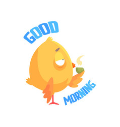 Good morning funny cartoon comic chicken drinking vector