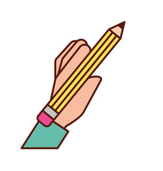 graphic design hand holding pencil vector image