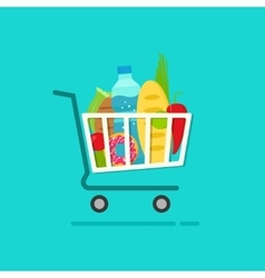 Grocery shopping cart with full of fresh products vector