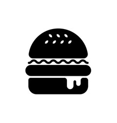 Hamburger black silhouette vector
