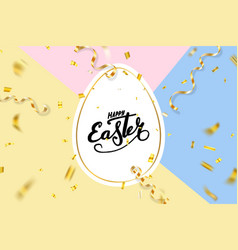 Happe easter background lettering eggs greeting vector