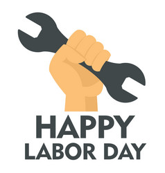 happy labor day key in hand logo icon flat style vector image