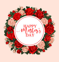 happy mother day greeting card with floral frame vector image