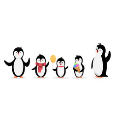 happy penguin family penguins isolated on white vector image