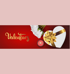 Happy valentines day realistic horizontal banner vector