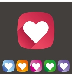 Heart love icon flat web sign symbol logo label vector