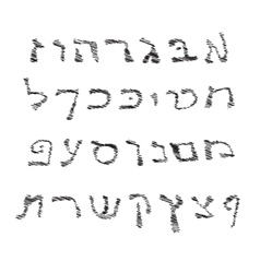 Hebrew Alphabet Font hand draw Graphic Hebrew vector image
