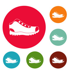 hiking boots icons circle set vector image