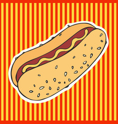 Hot dog hand drawing sticker vector
