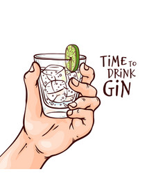 human hand with gin and vector image