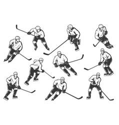 ice hockey players monochrome sport team vector image